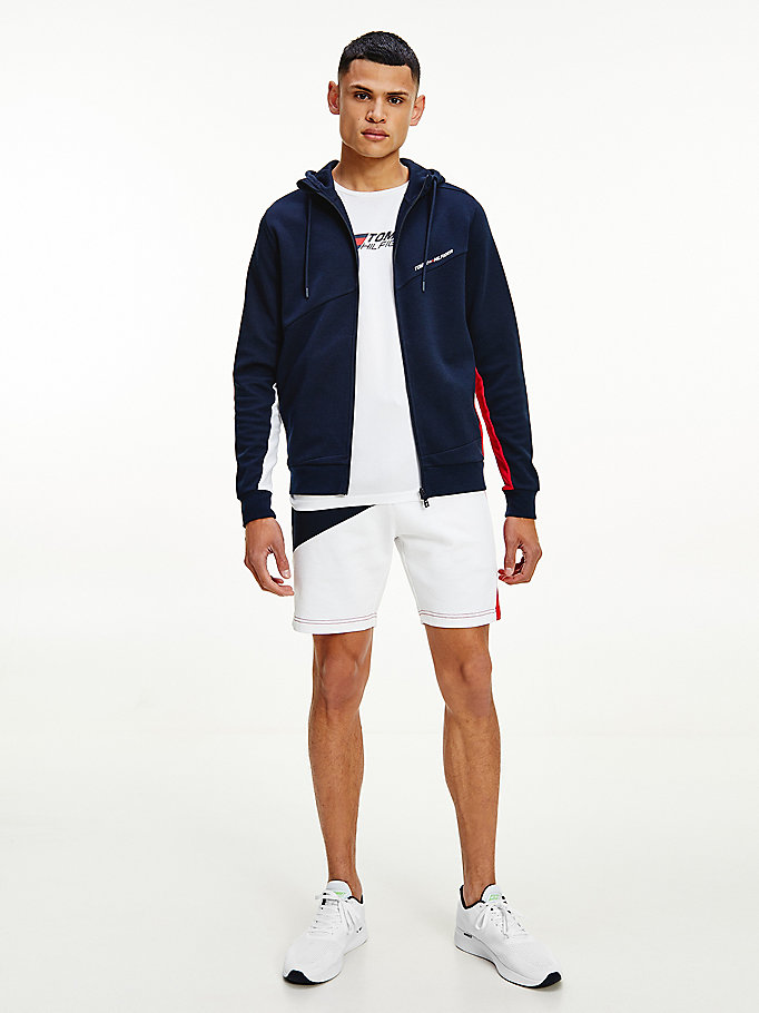 blue sport th cool mixed panel hoody for men tommy hilfiger