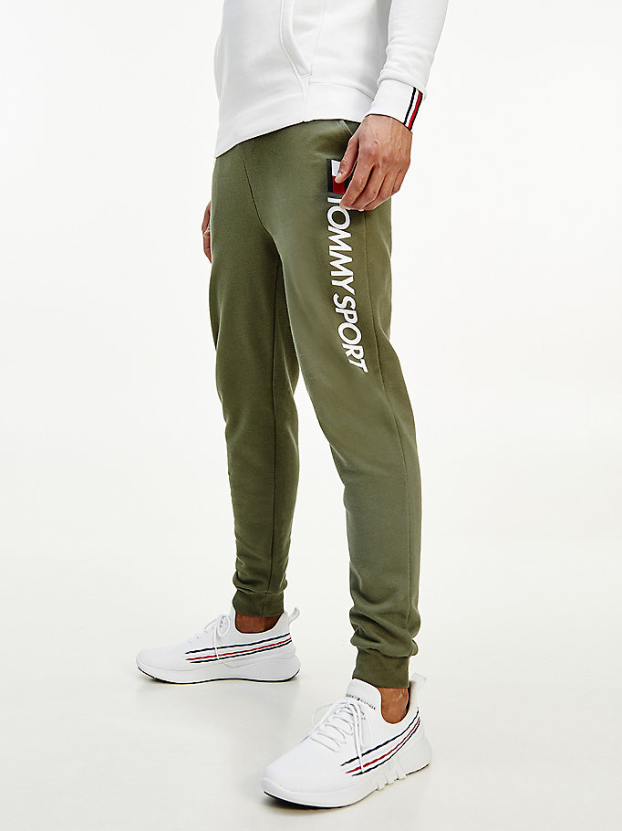 green leg logo cotton fleece joggers for men tommy sport