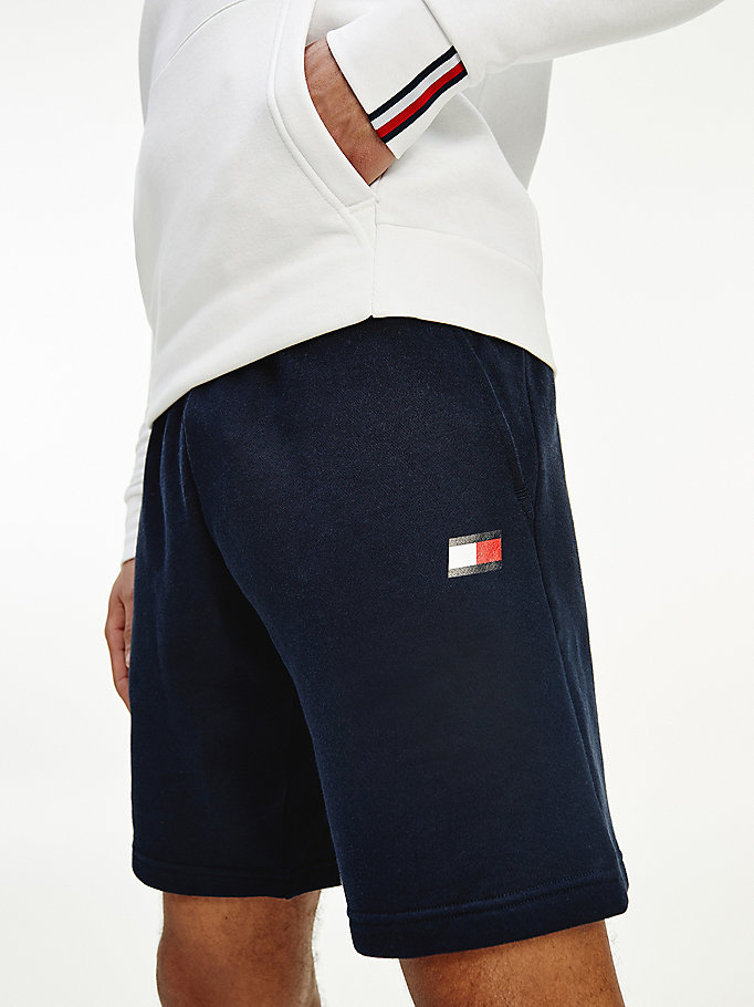 blue cotton fleece jogger shorts for men tommy sport