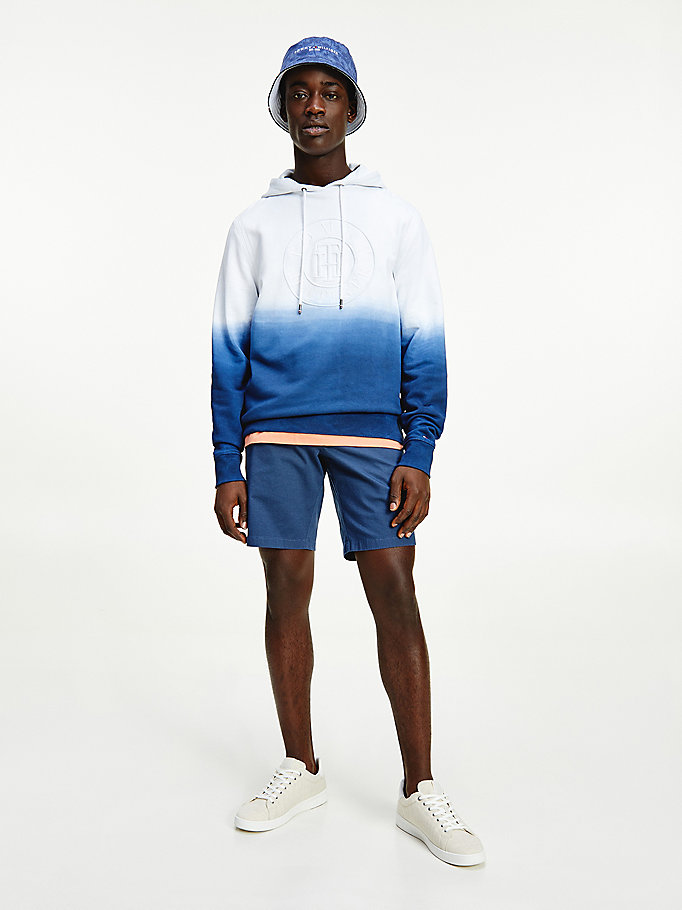 blue dip dye logo embroidery hoody for men tommy hilfiger