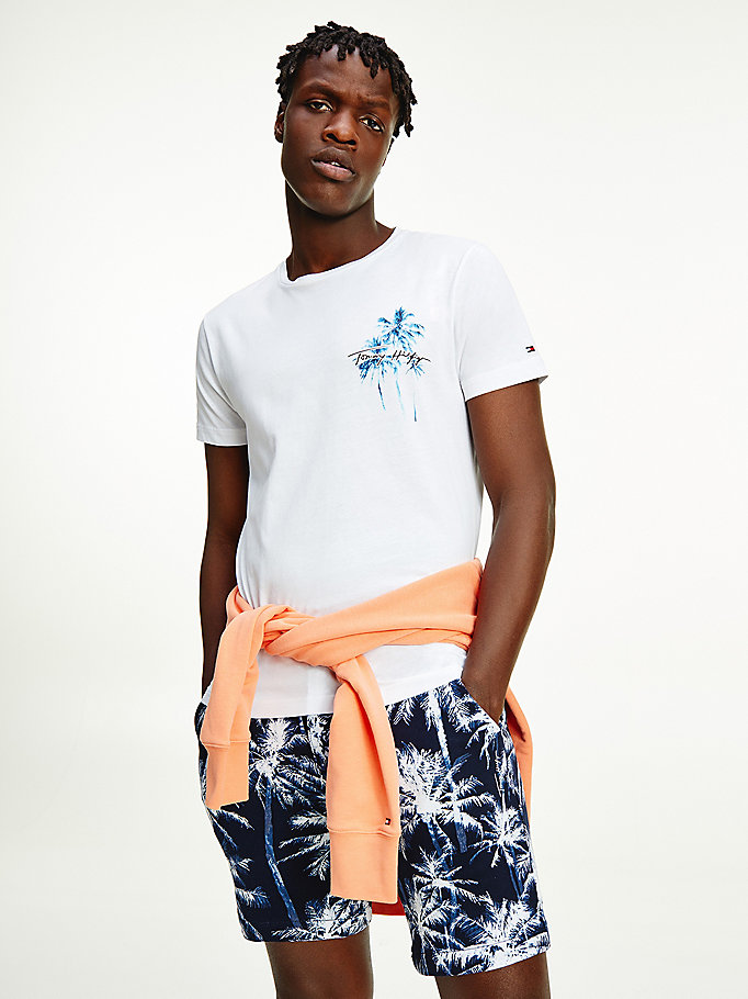 white palm print organic cotton t-shirt for men tommy hilfiger
