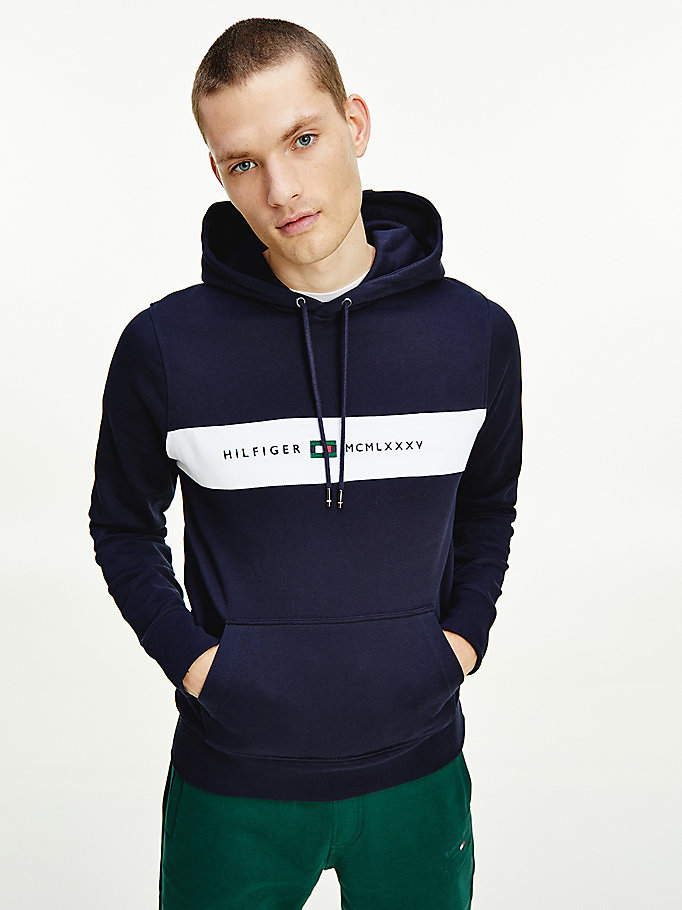blue organic cotton logo panel hoody for men tommy hilfiger