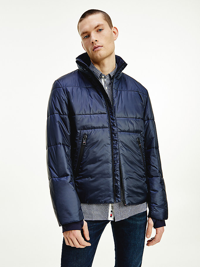 blue funnel neck mixed media jacket for men tommy hilfiger