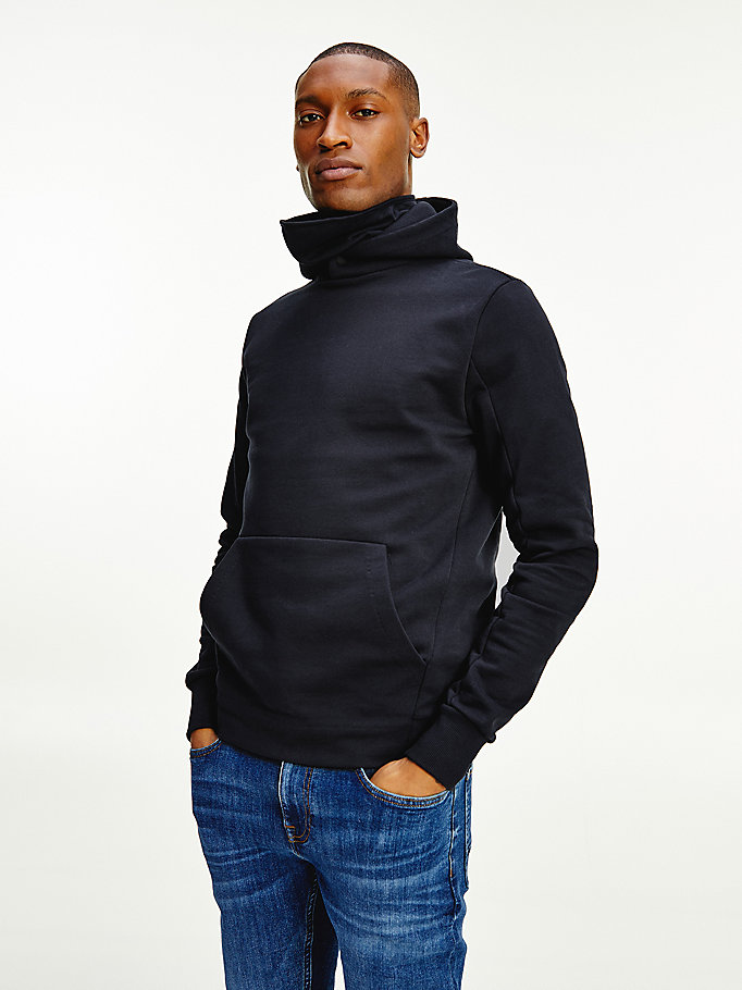 blue funnel neck hoody for men tommy hilfiger