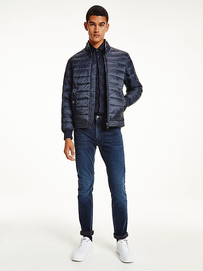 blue quilted zip-thru bomber jacket for men tommy hilfiger