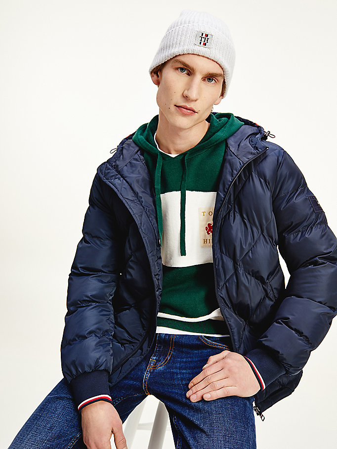 blue diamond quilted hooded jacket for men tommy hilfiger