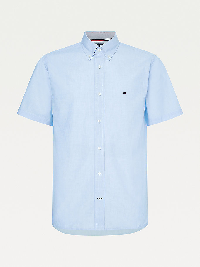 blue poplin short sleeve regular fit shirt for men tommy hilfiger