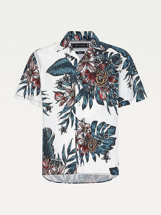 white tropical print short sleeve shirt for men tommy hilfiger