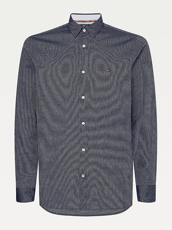 blau th flex slim fit hemd für men - tommy hilfiger