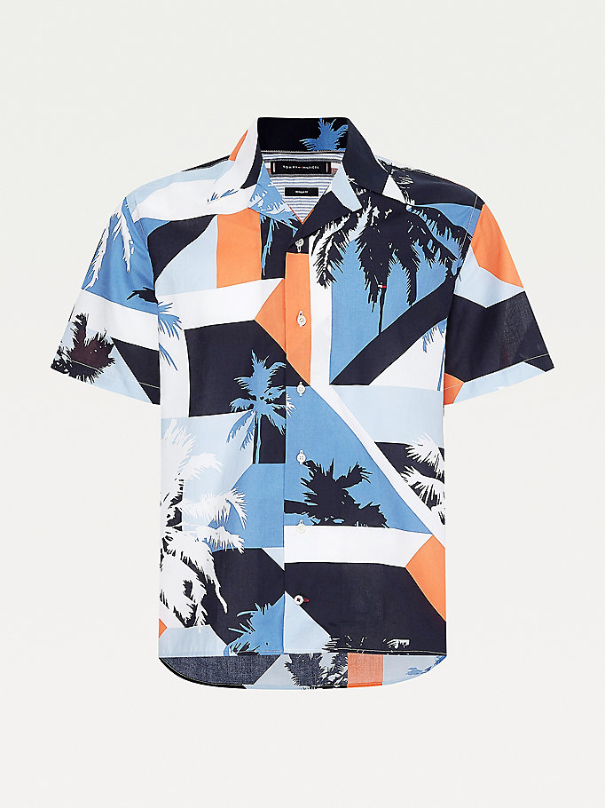 blue colour-blocked palm print short sleeve shirt for men tommy hilfiger