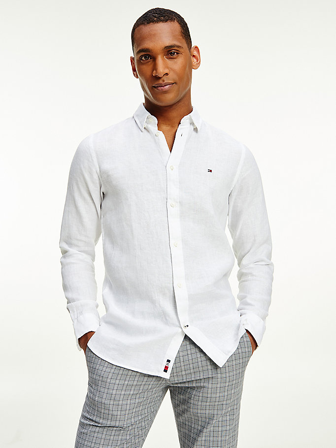 white signature embroidery linen slim fit shirt for men tommy hilfiger