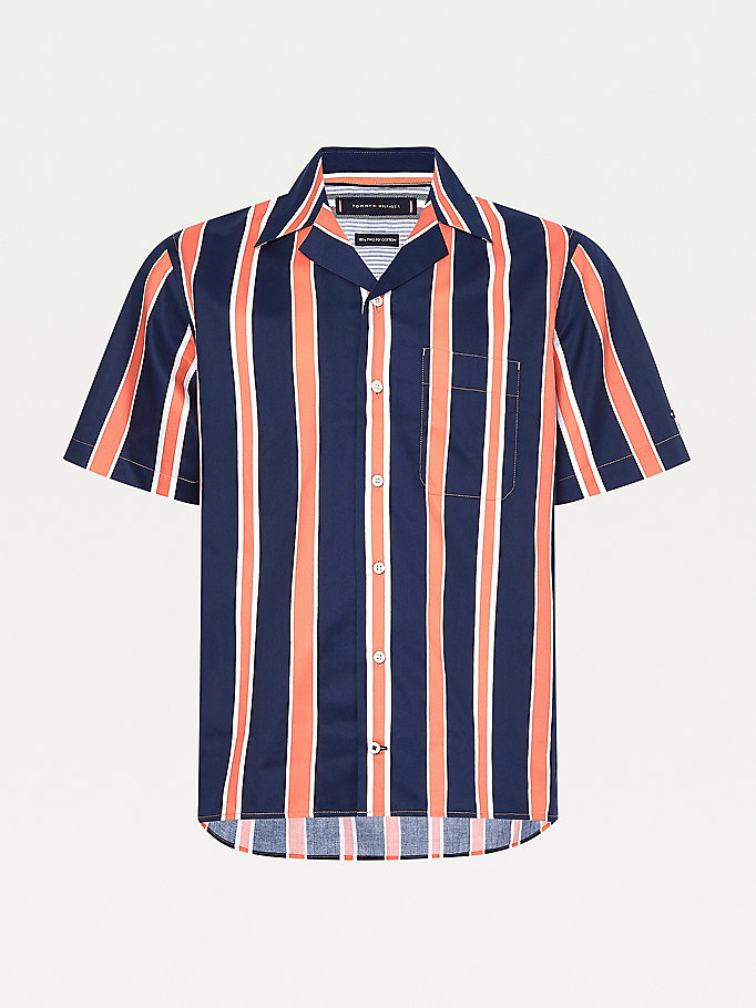 camicia regular fit a righe con maniche corte blu da men tommy hilfiger