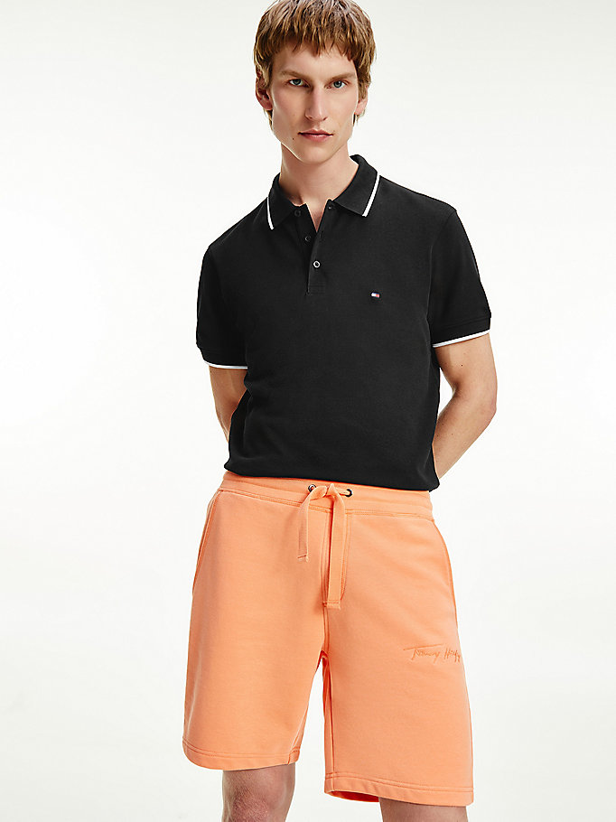 black contrast tipped regular fit polo for men tommy hilfiger
