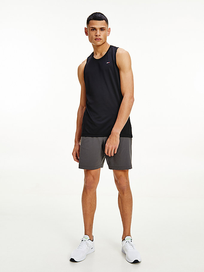 black sport training relaxed fit tank top for men tommy hilfiger