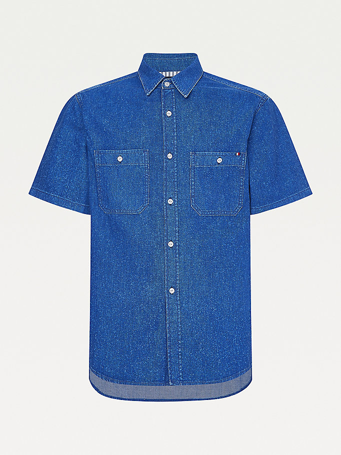 camicia in denim di cotone riciclato denim da men tommy hilfiger