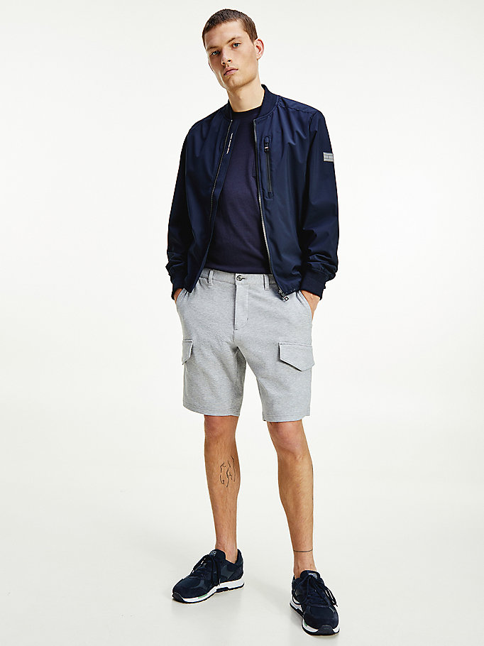 grey harlem jersey relaxed fit cargo shorts for men tommy hilfiger