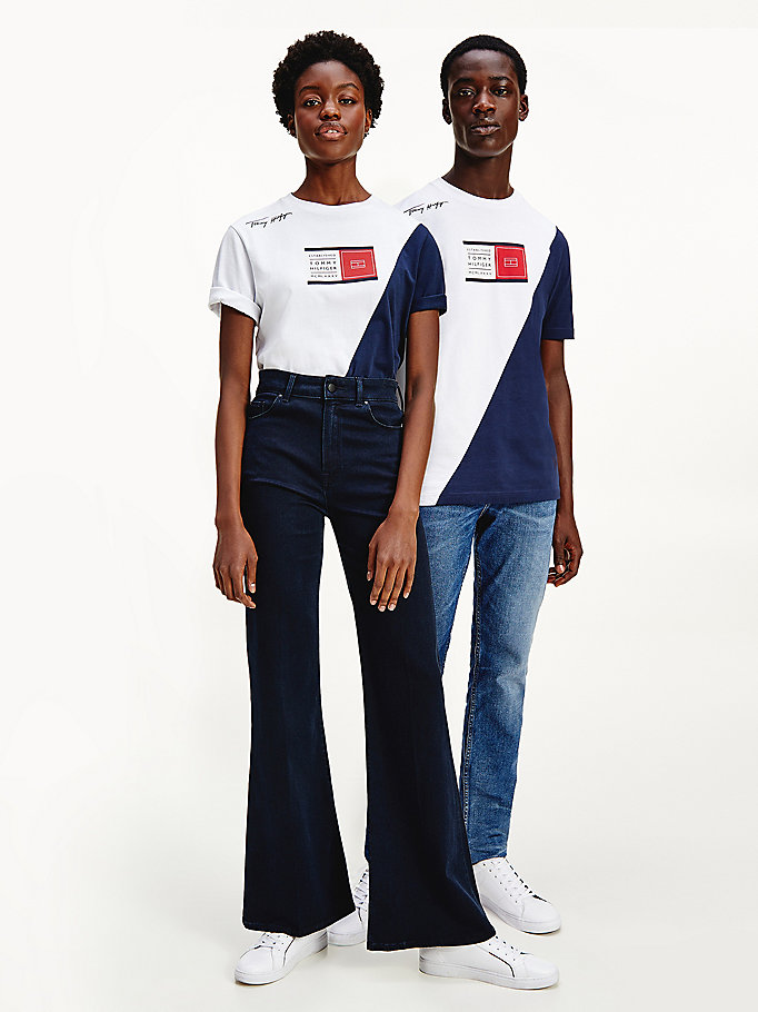 t-shirt the together bianco da uomo tommy hilfiger