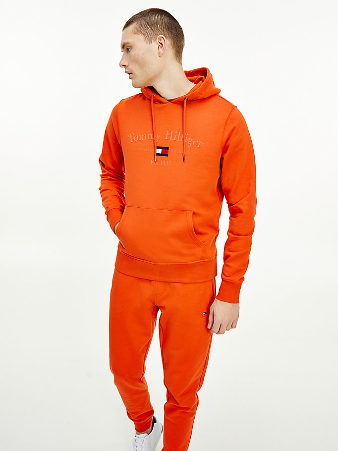 orange organic cotton logo embroidery hoody for men tommy hilfiger