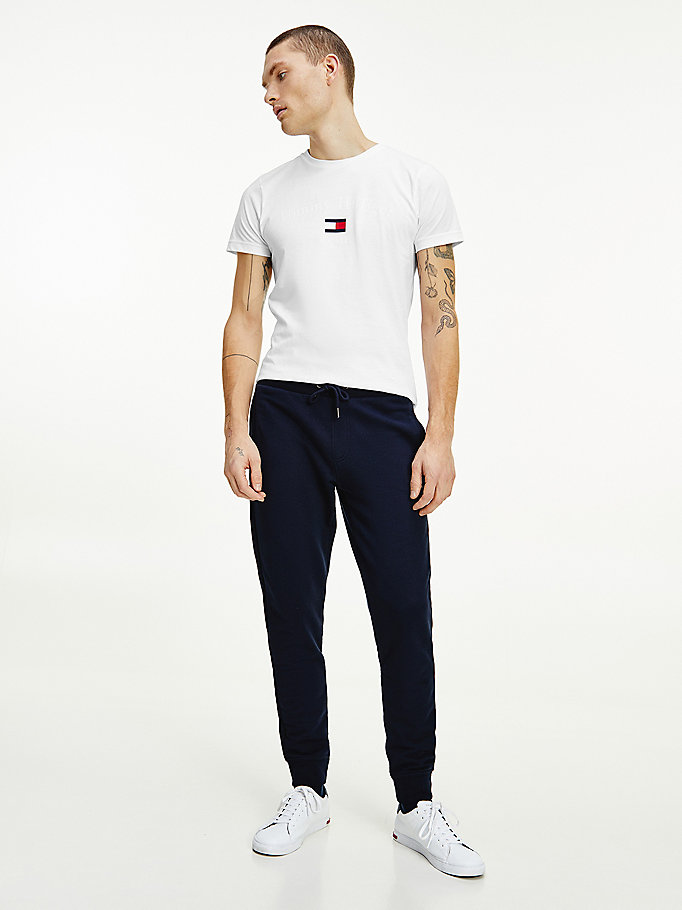 blue organic cotton logo embroidery joggers for men tommy hilfiger