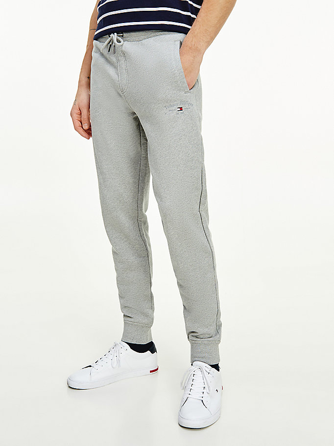 grey organic cotton logo embroidery joggers for men tommy hilfiger