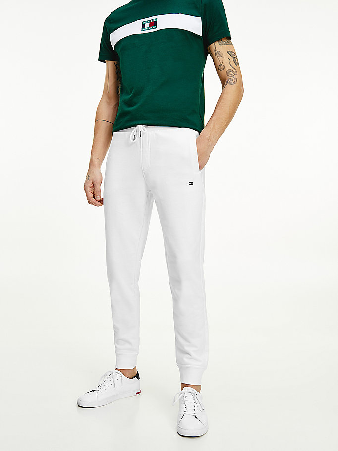 white organic cotton logo embroidery joggers for men tommy hilfiger