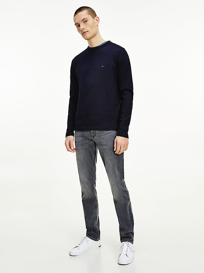 blue flag embroidery crew neck sweatshirt for men tommy hilfiger