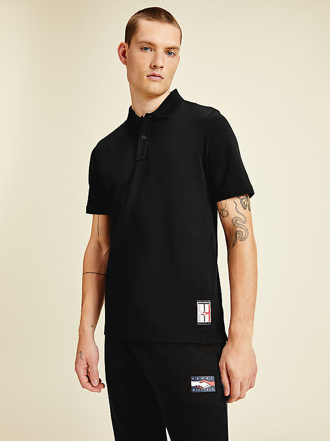 black one planet back graphic polo for men tommy hilfiger
