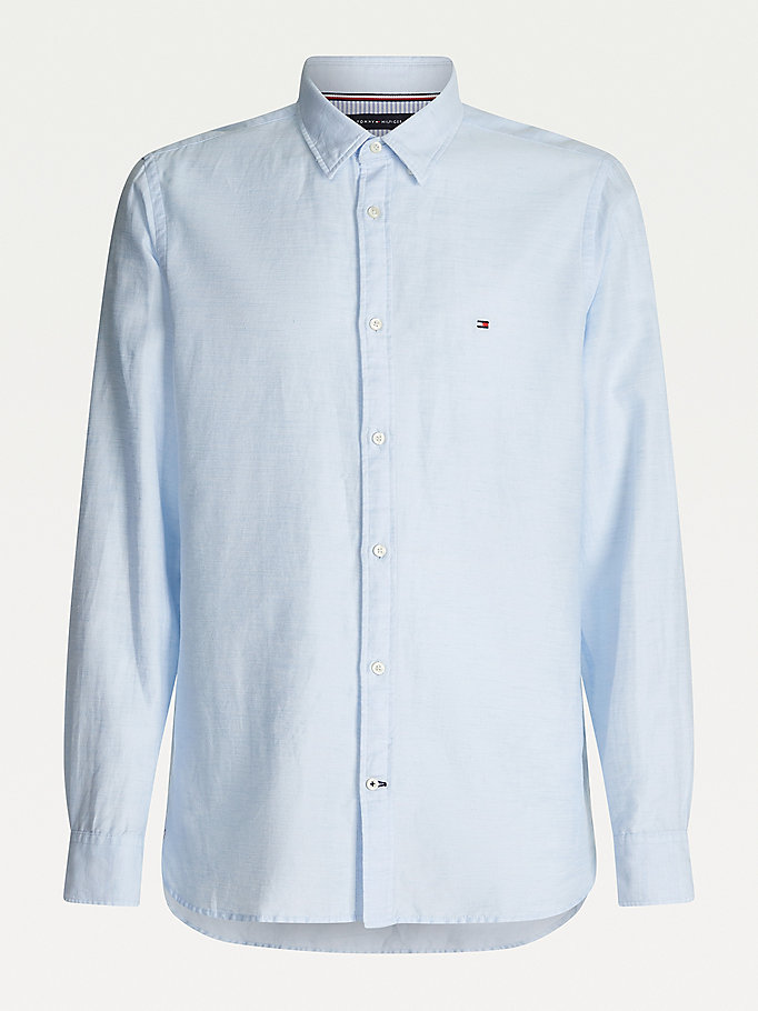 blue cotton linen twill shirt for men tommy hilfiger