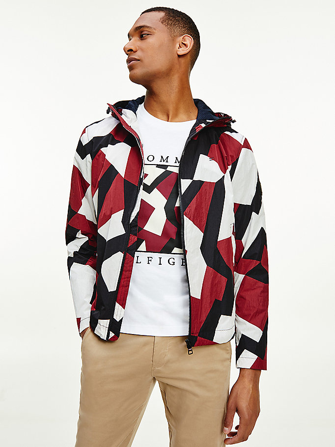 red lightweight geometric print hooded jacket for men tommy hilfiger