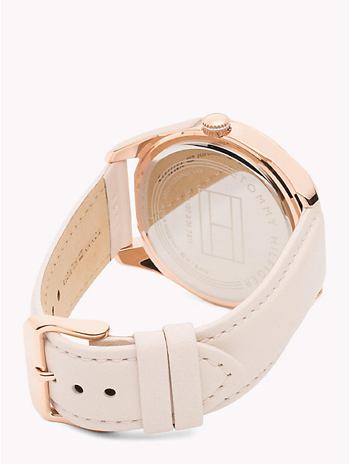 TOMMY HILFIGER Rose Gold-Plated Concentric Pattern Leather Strap Watch - PINK - TOMMY HILFIGER Watches & Jewelry - detail image 1