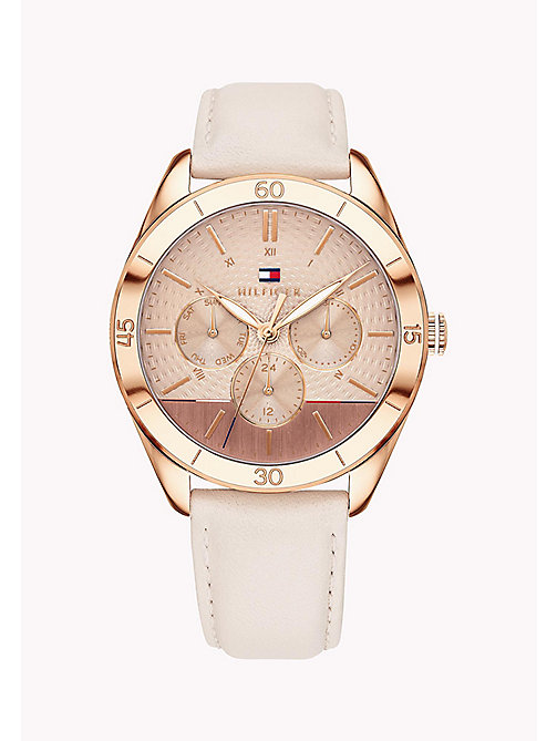 TOMMY HILFIGER Rose Gold-Plated Concentric Pattern Leather Strap Watch - PINK - TOMMY HILFIGER Watches & Jewelry - main image