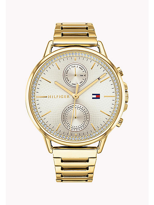 TOMMY HILFIGER Crystal-Set Round Dial Watch - YELLOW GOLD - TOMMY HILFIGER Watches - main image
