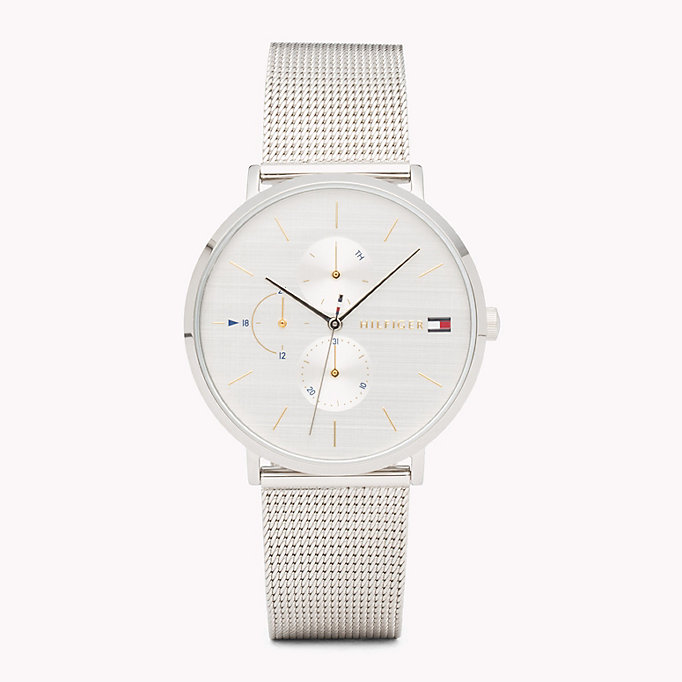 grey triple dial stainless steel watch for women tommy hilfiger