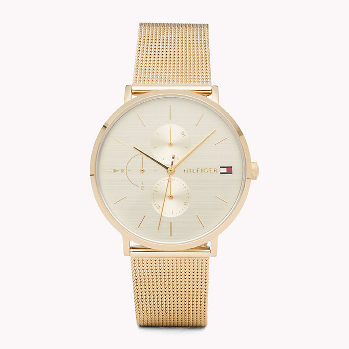 gold jenna yellow gold watch for women tommy hilfiger