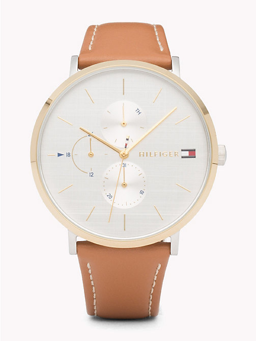 TOMMY HILFIGER Gold Detailing Brown Strap Watch - BROWN - TOMMY HILFIGER Watches - main image