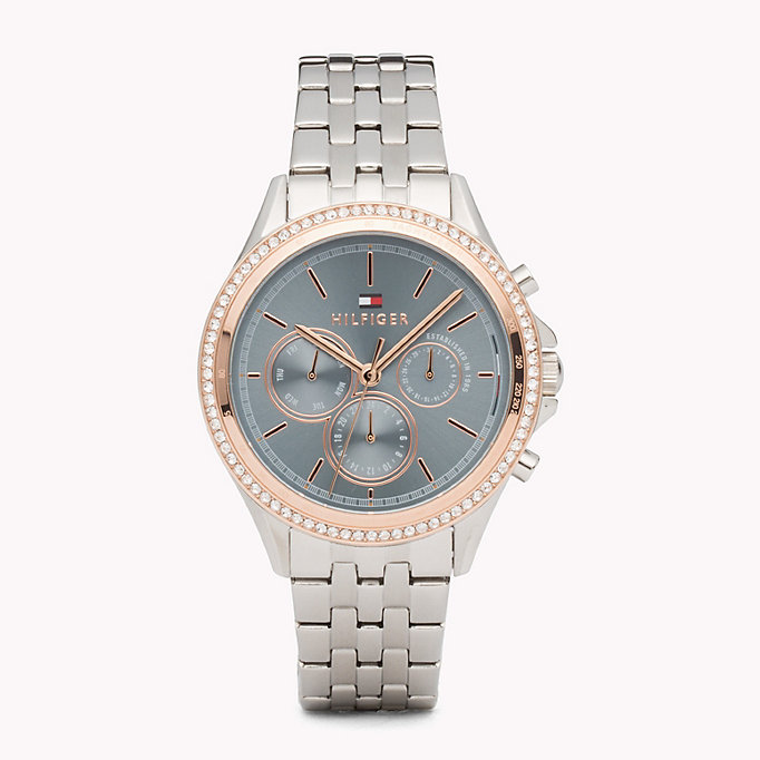 grey ari stainless steel crystal watch for women tommy hilfiger