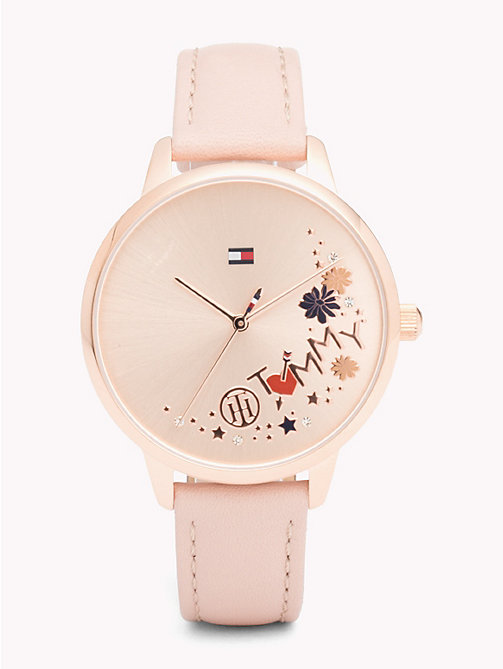 TOMMY HILFIGER Orologio in pelle color rosa August - PINK LEATHER - TOMMY HILFIGER Orologi - immagine principale
