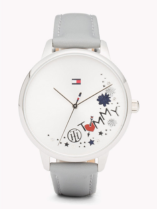 TOMMY HILFIGER August Grey Leather Watch - GREY LEATHER - TOMMY HILFIGER Watches & Jewelry - main image