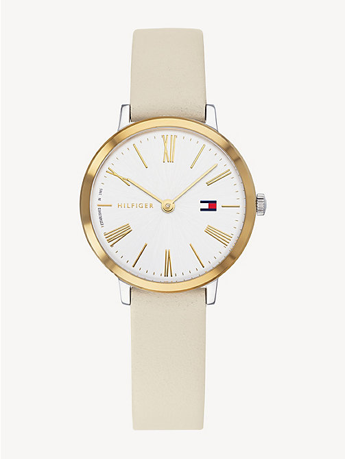 cfbc75aa0 beige zendaya beige leather watch for women tommy hilfiger