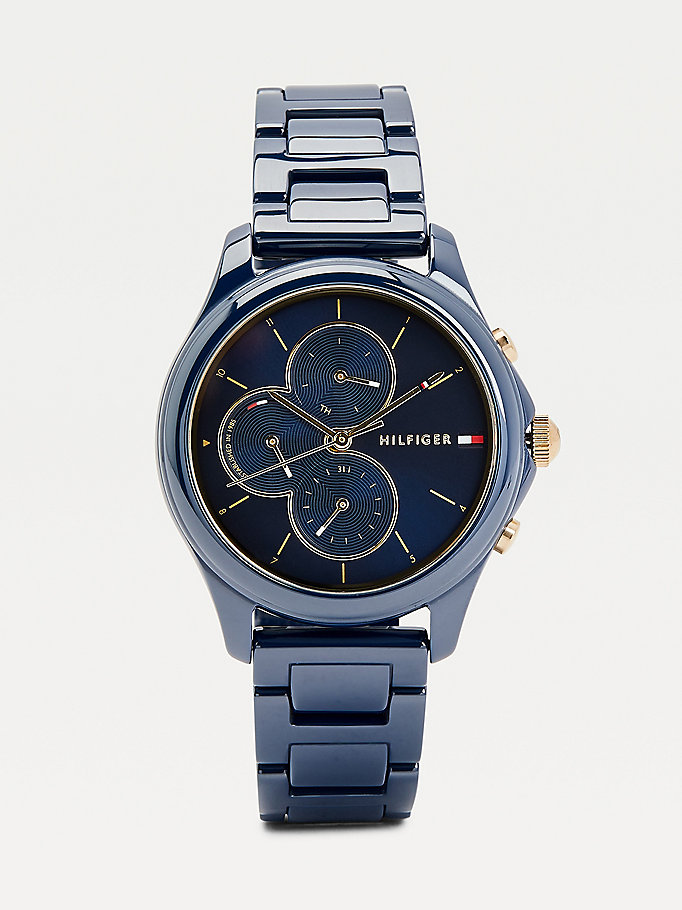 blue multifunction ceramic navy watch for women tommy hilfiger
