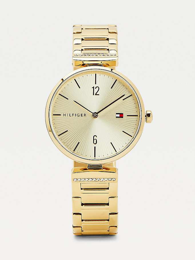 gold gold-plated crystal embellished watch for women tommy hilfiger