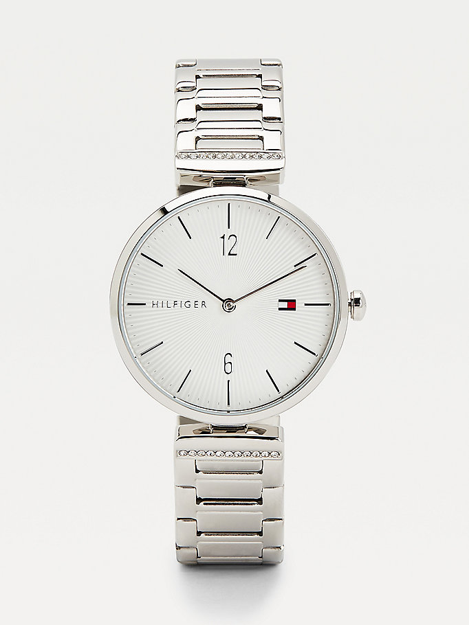 silver crystal embellished stainless steel watch for women tommy hilfiger