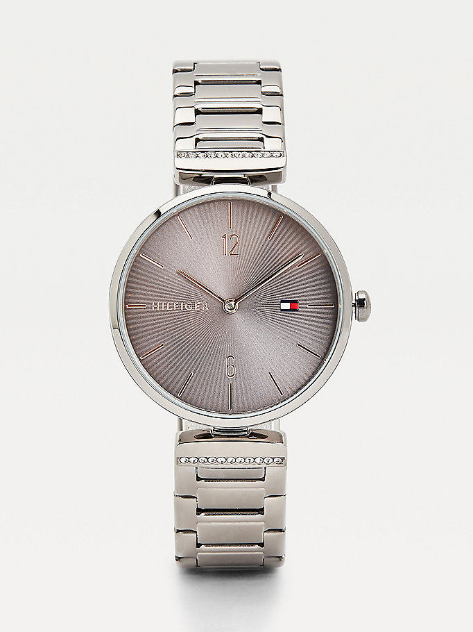 grey crystal embellished bracelet gunmetal watch for women tommy hilfiger