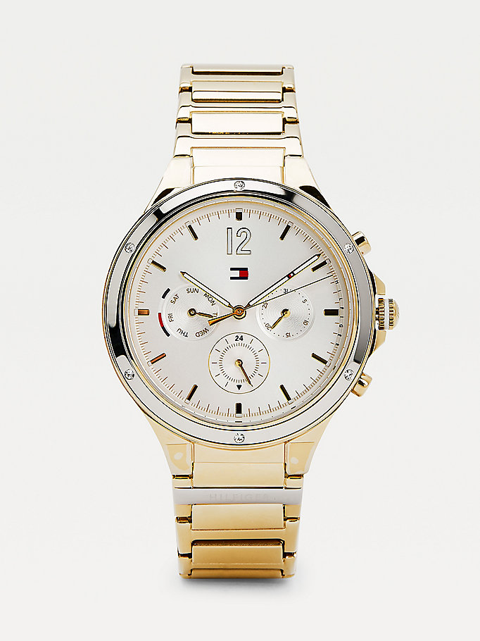 gold crystal embellished yellow gold-plated watch for women tommy hilfiger