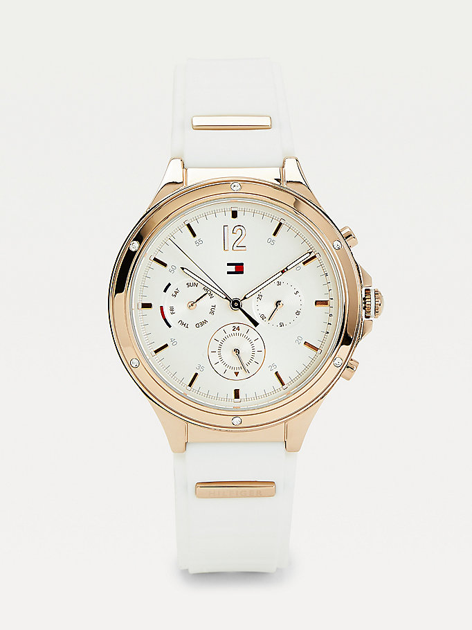 white multifunction silicone strap white watch for women tommy hilfiger