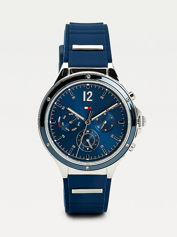 blue multifunction silicone strap navy watch for women tommy hilfiger