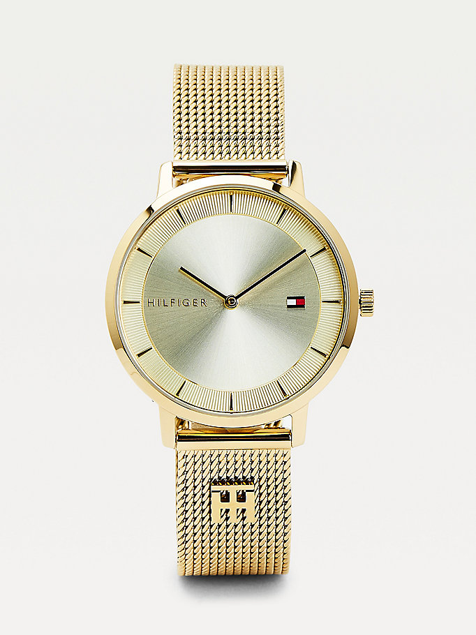 gold monogram plaque yellow gold-plated watch for women tommy hilfiger