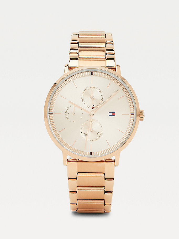 pink carnation gold-plated multifunction bracelet watch for women tommy hilfiger