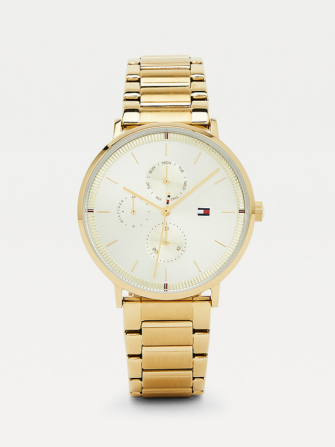 gold gold-plated multifunction bracelet watch for women tommy hilfiger