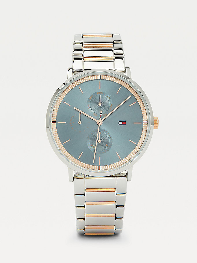 silver blue dial two-tone bracelet watch for women tommy hilfiger